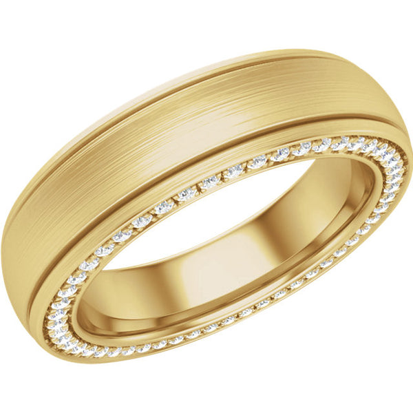 14K Yellow Gold 6mm Diamond Grooved Band with Satin Finish