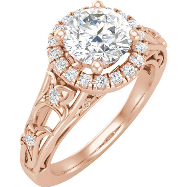 14K Rose Gold Round 1/4 CTW Diamond Engagement Ring