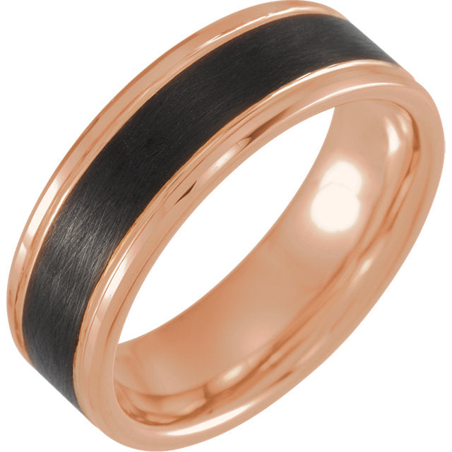 18K Rose Gold & Black PVD Tungsten Beveled Edge Band