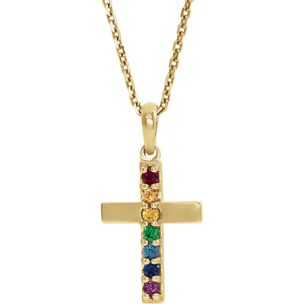 14K Yellow Multi-Gemstone Cross Pendant