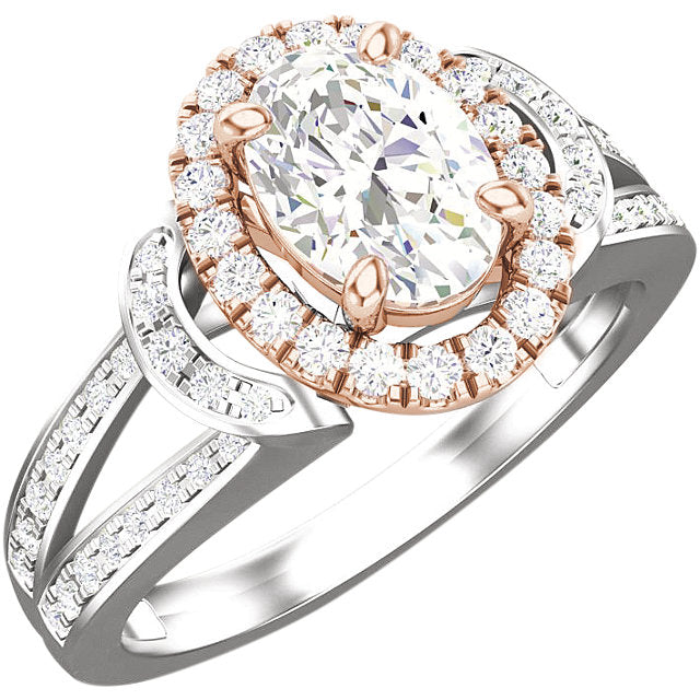 14K White & Rose Gold Oval 1/3 CTW Diamond Engagement Ring