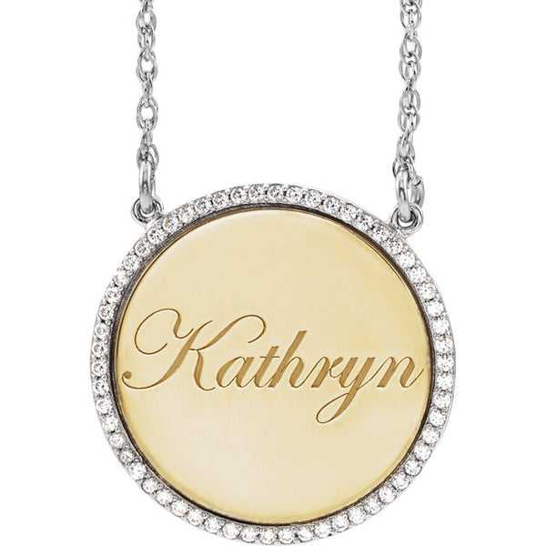 14K Yellow 1/4 CTW Diamond Personalized Disc Pendant