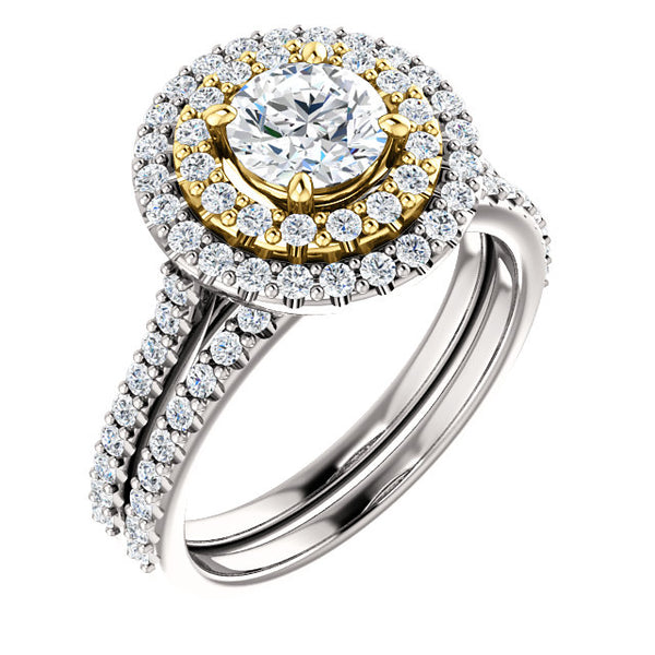14K White & Yellow Diamond Double-Halo Round Engagement Ring