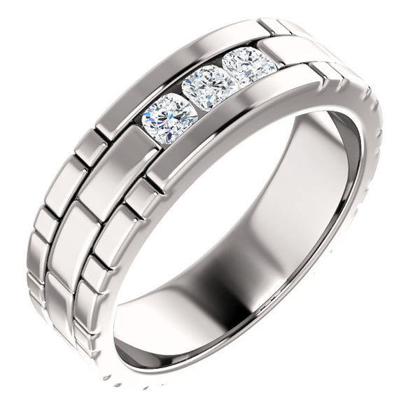 14K White Gold 1/2 CTW Diamond Men's Ring