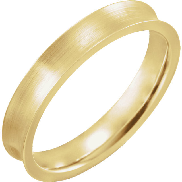 18K Yellow Gold Concave Edge Band with Satin Finish