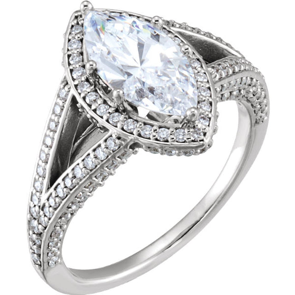 14K Marquise Diamond  Engagement Ring