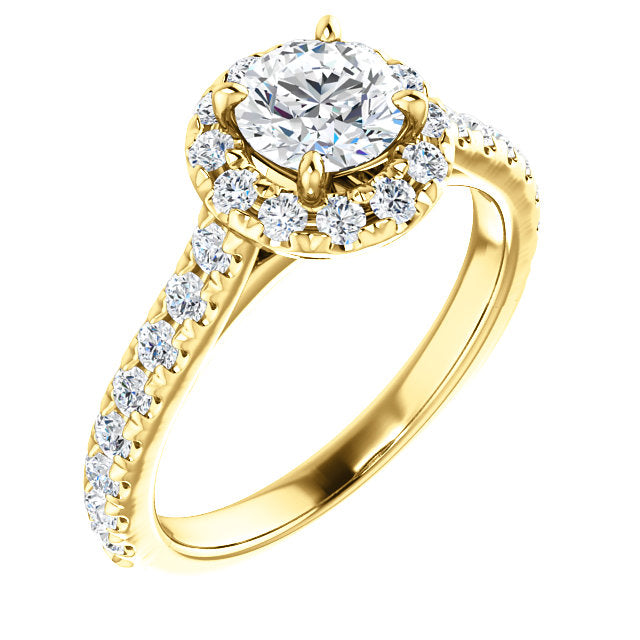 14K Yellow Gold Round Forever One Moissanite & 7/8 CTW Diamond Engagement Ring