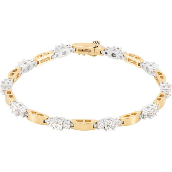 14K Yellow & White Line Bracelet