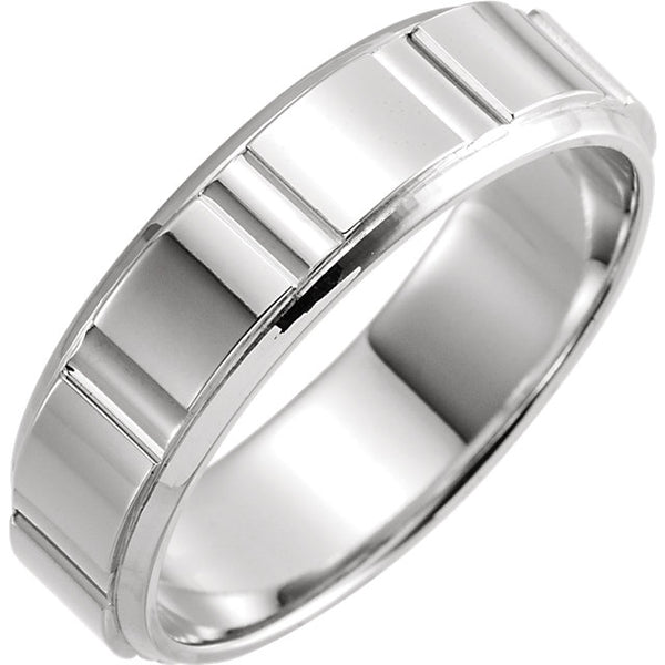 14K White Gold Patterned Band