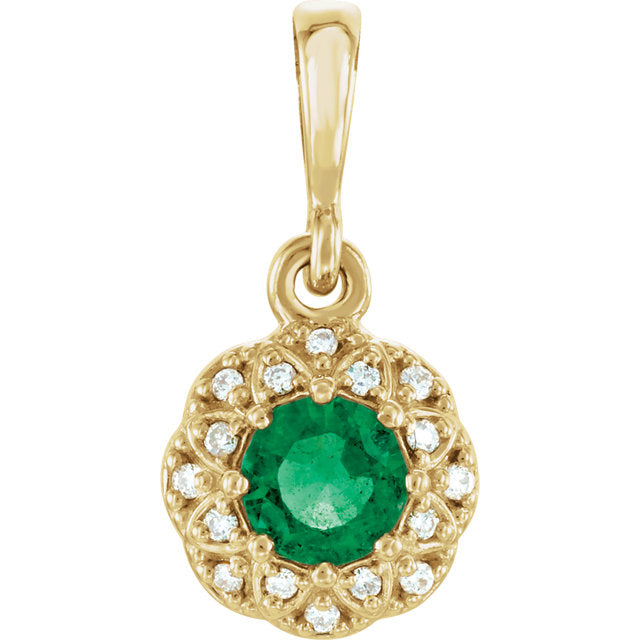 14K Yellow Gold Emerald & .04 CTW Diamond Halo-Style Pendant