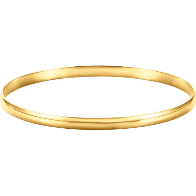 14K Yellow 6 mm Half Round Bangle Bracelet