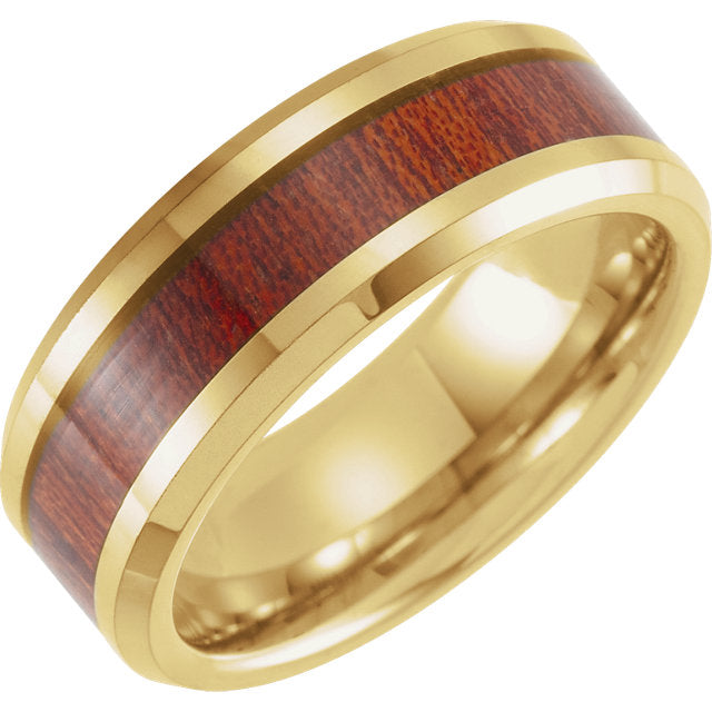 18K Yellow Gold PVD Tungsten Beveled Edge Band