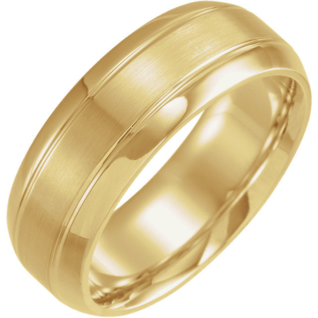 14K Yellow Gold Comfort-Fit Beveled Edge Carved Band
