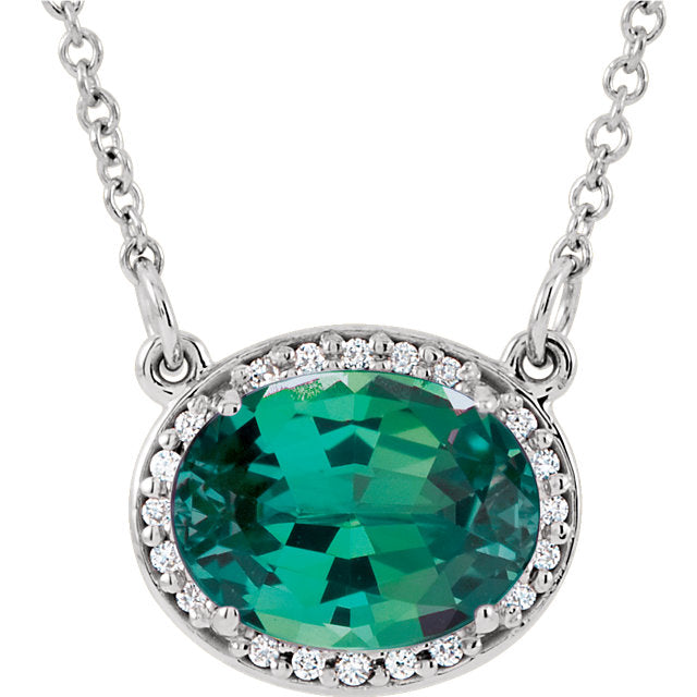14K White Gold Chatham Emerald & .05 CTW Diamond Necklace