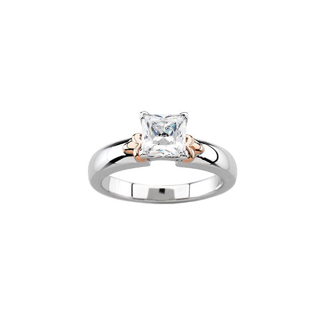18k White & Rose Accented Engagement Ring