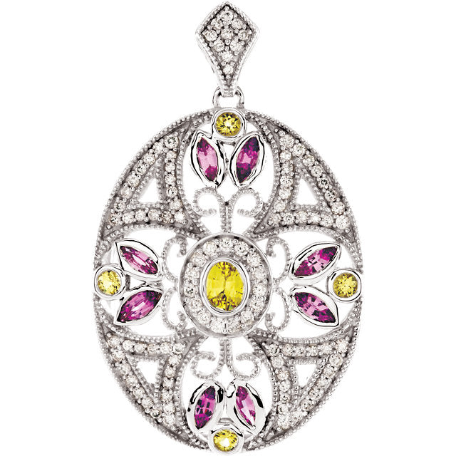 14K White Gold with  Pink & Yellow Sapphire & 3/8 CTW Diamond Pendant
