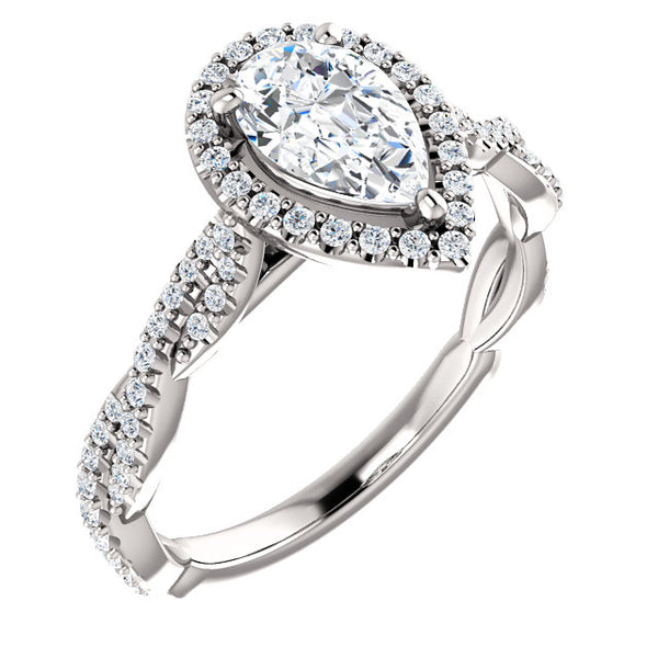 14K Pear Shape Diamond Halo Engagement Ring