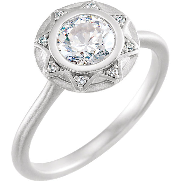 14K White Gold Round Diamond Halo-Style Engagement Ring with Bead Blast Finish