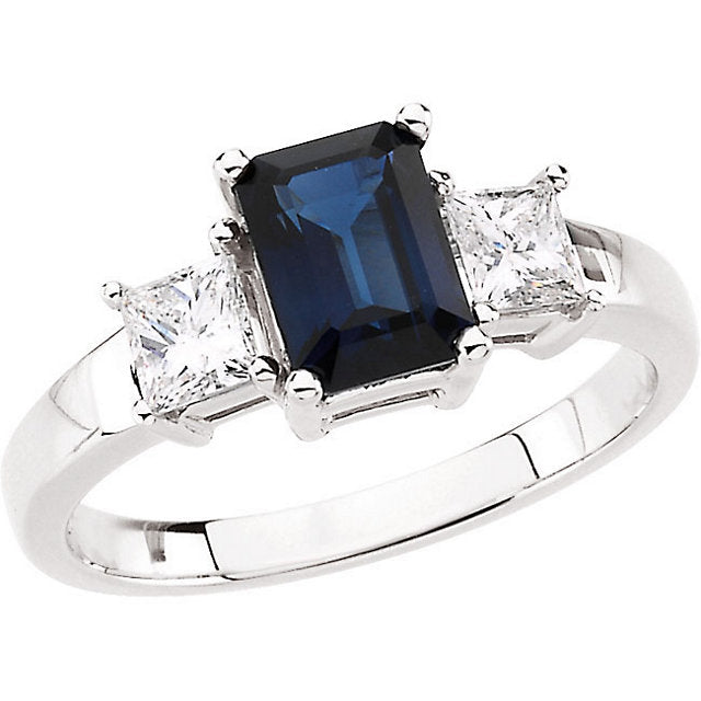 14k White Blue Sapphire & Diamond Accented Ring
