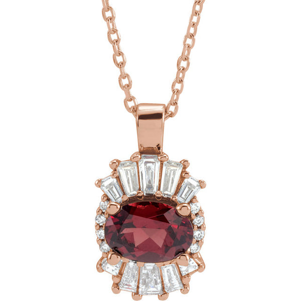 14K Rose Mozambique Garnet & 1/3 CTW Diamond Pendant