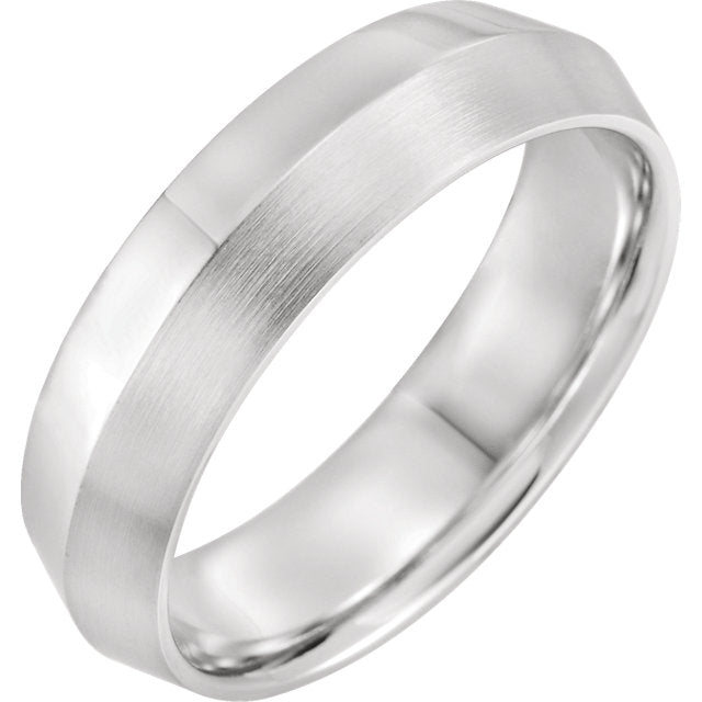 14K White Gold Knife-Edge Comfort-Fit Band with Satin Finish