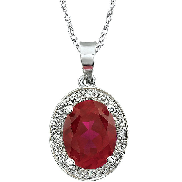 14K White Gold Ruby & .02 CTW Diamond Necklace