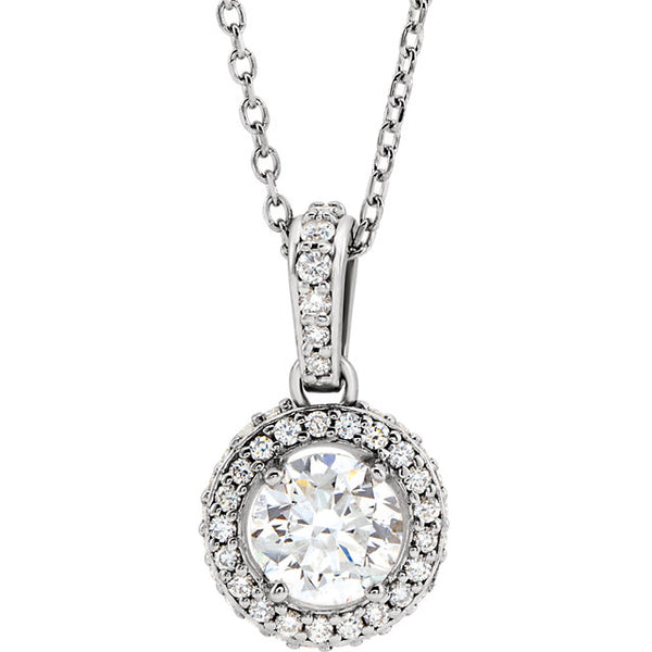 14K White 1/2 CTW Diamond Pendant