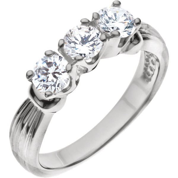 18k Diamond Three-Stone Anniversary Ring