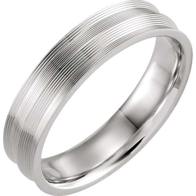 14K White Gold Grooved Comfort-Fit Band