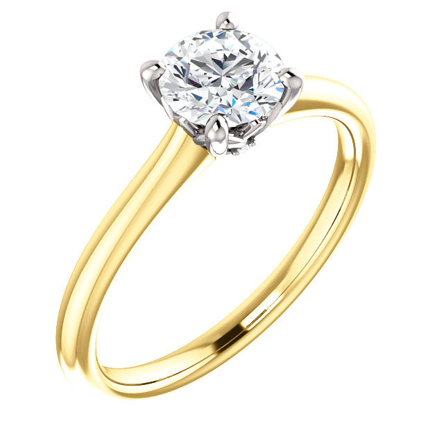 14K Yellow Gold Natural Diamond Accented Engagement Ring