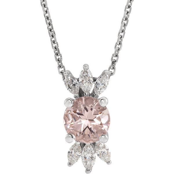 14K White Gold Pink Morganite & 1/4 CTW Diamond Pendant
