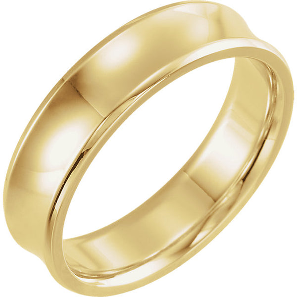 14K Yellow Gold Beveled-Edge Concave Band