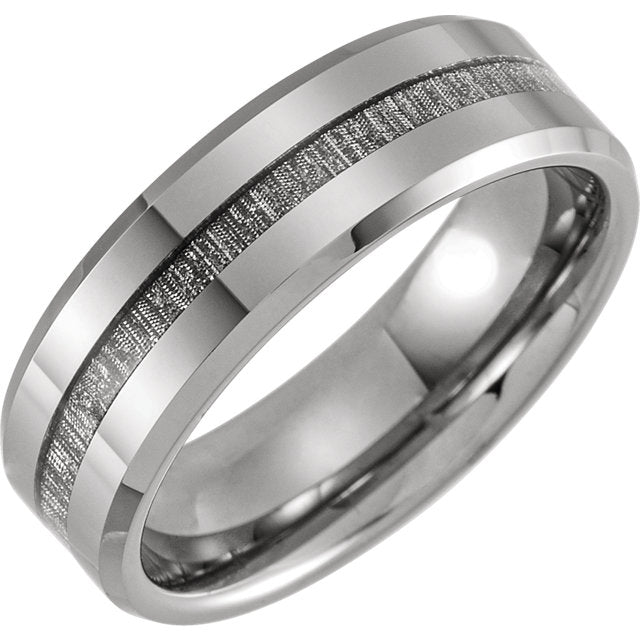 Tungsten Beveled Edge Band with Meteorite Inlay