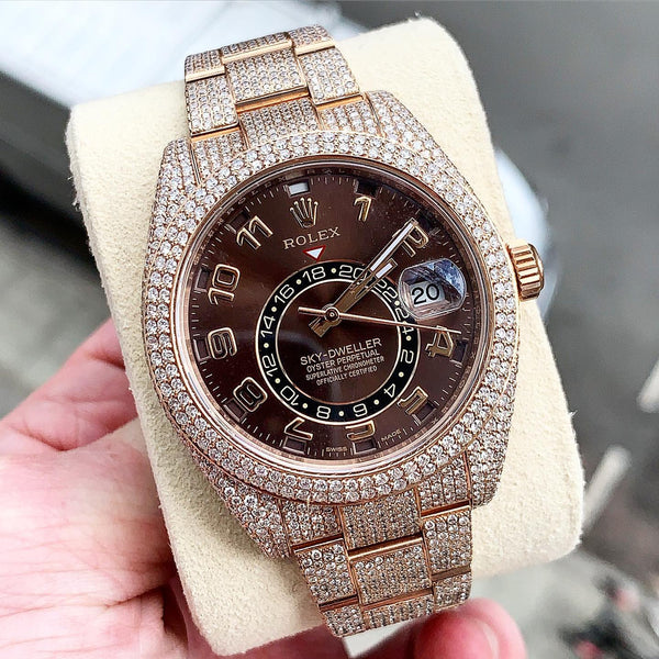 Custom Rolex Sky-Dweller Rose Gold Flower Setting