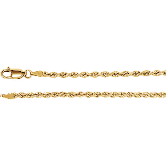 14K Yellow 2.5 mm Rope Chain