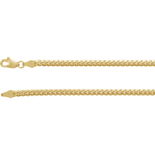 14K Yellow 3.3 mm Miami Cuban Link Chain with Lobster Clasp