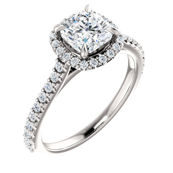 14k white gold 4ct Cushion ring  with diamond Halo.