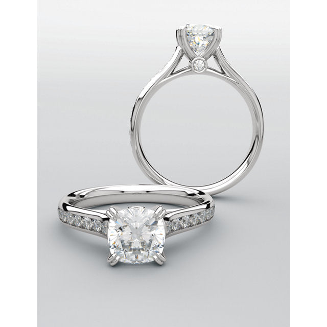 14k white gold round diamond engagement ring.