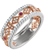 14K White & Rose Gold Ruby Diamond Ring