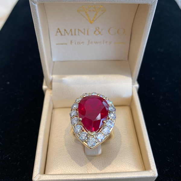 Custom 18k Yellow Gold Pear Cut Ruby Diamond Ring