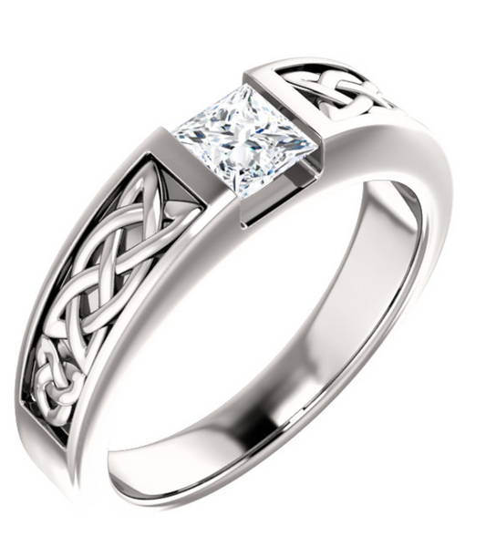 14K White Gold Princess Cut Diamond Mens Ring