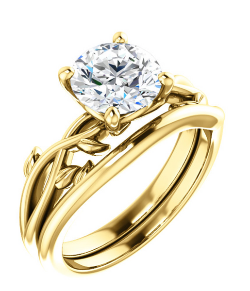 14K Yellow Gold Round Diamond Solitaire Engagement Ring