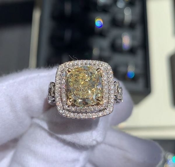 Custom Fancy Yellow GIA Cushion Cut Diamond Ring