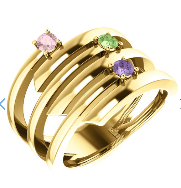 14K Yellow Gold 3-Stone Engravable Family Ring
