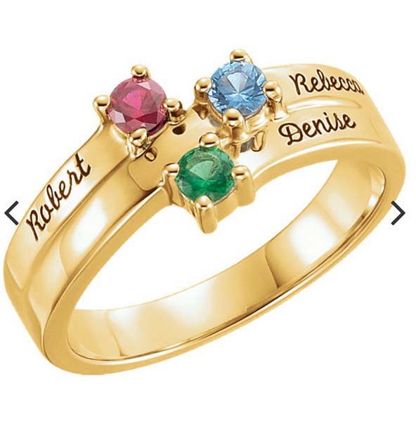 14K Yellow Gold 3-Stone Family Ring
