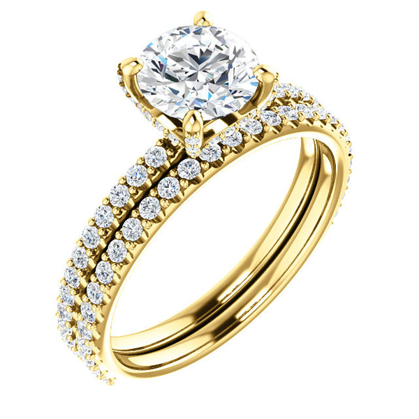 14k Yellow gold engagement ring with matching wedding band