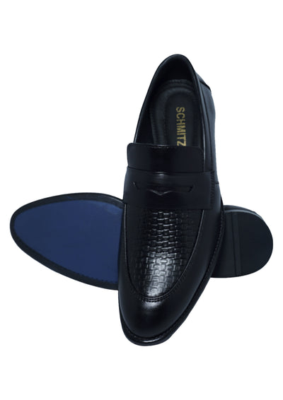 Schmitz Premium Calibre Lace-Up Men's Black Casual Loafer Shoe with Outer Material Softy Leather