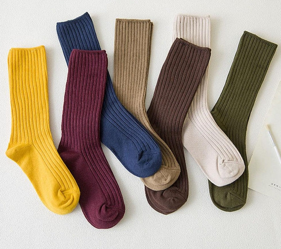 New Loose Socks Women/Girls Cotton Knitting Rib Solid Colors Socks by FavStuffs - FavStuffs