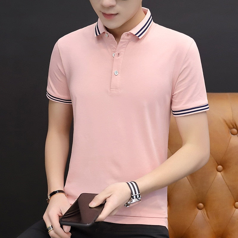 FavStuffs Men's New Style Self-Cultivating Lapel Pure Short Sleeves T-Shirts - FavStuffs