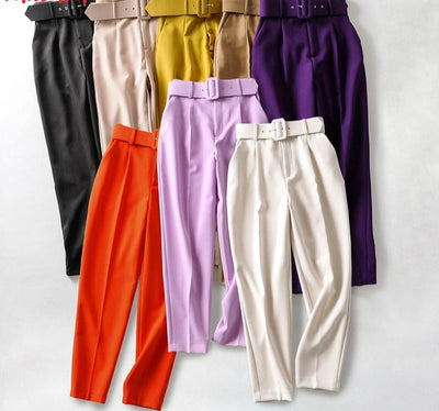 New High Waist Pants with Sashes Pockets for Girls/Women's by FavStuffs - FavStuffs